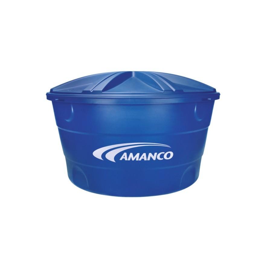 Caixa dagua de Polietileno com Tampa 500L Azul - Amanco