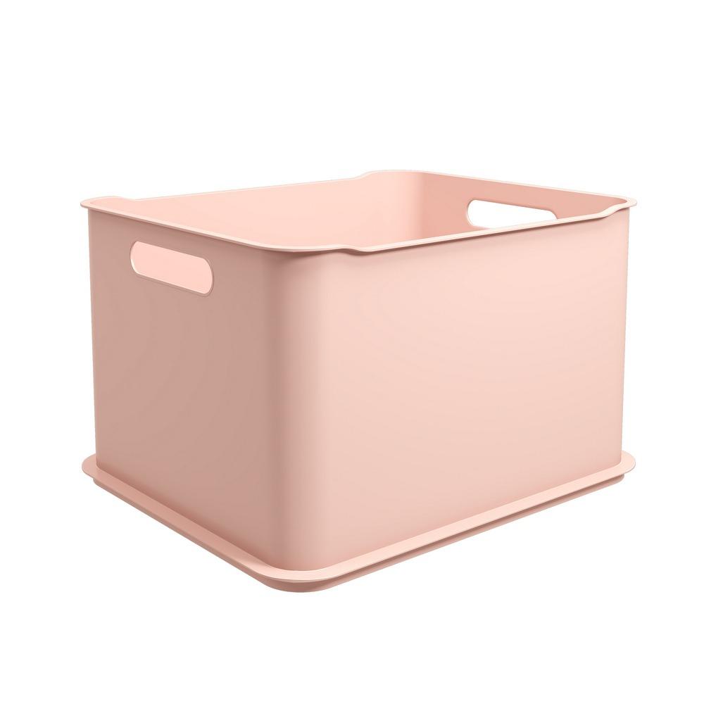 Cesta Organizadora de Plastico 38x31cm Empilhavel Rosa Blush - Coza