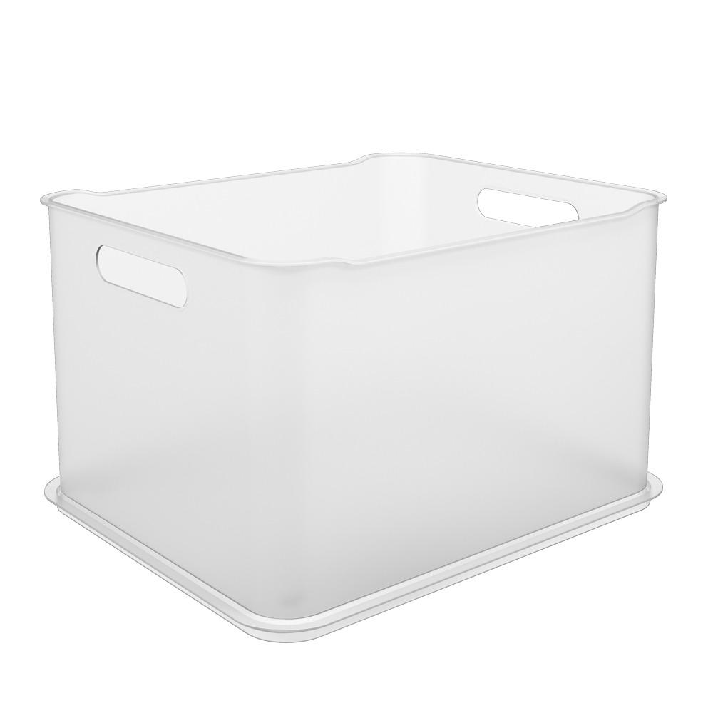 Cesta Organizadora de Plastico 38x31cm Empilhavel Branco - Coza