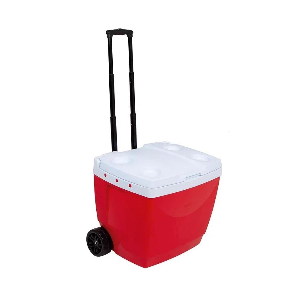 Caixa Termica com Rodinha 42L Polipropileno Vermelho - Mor