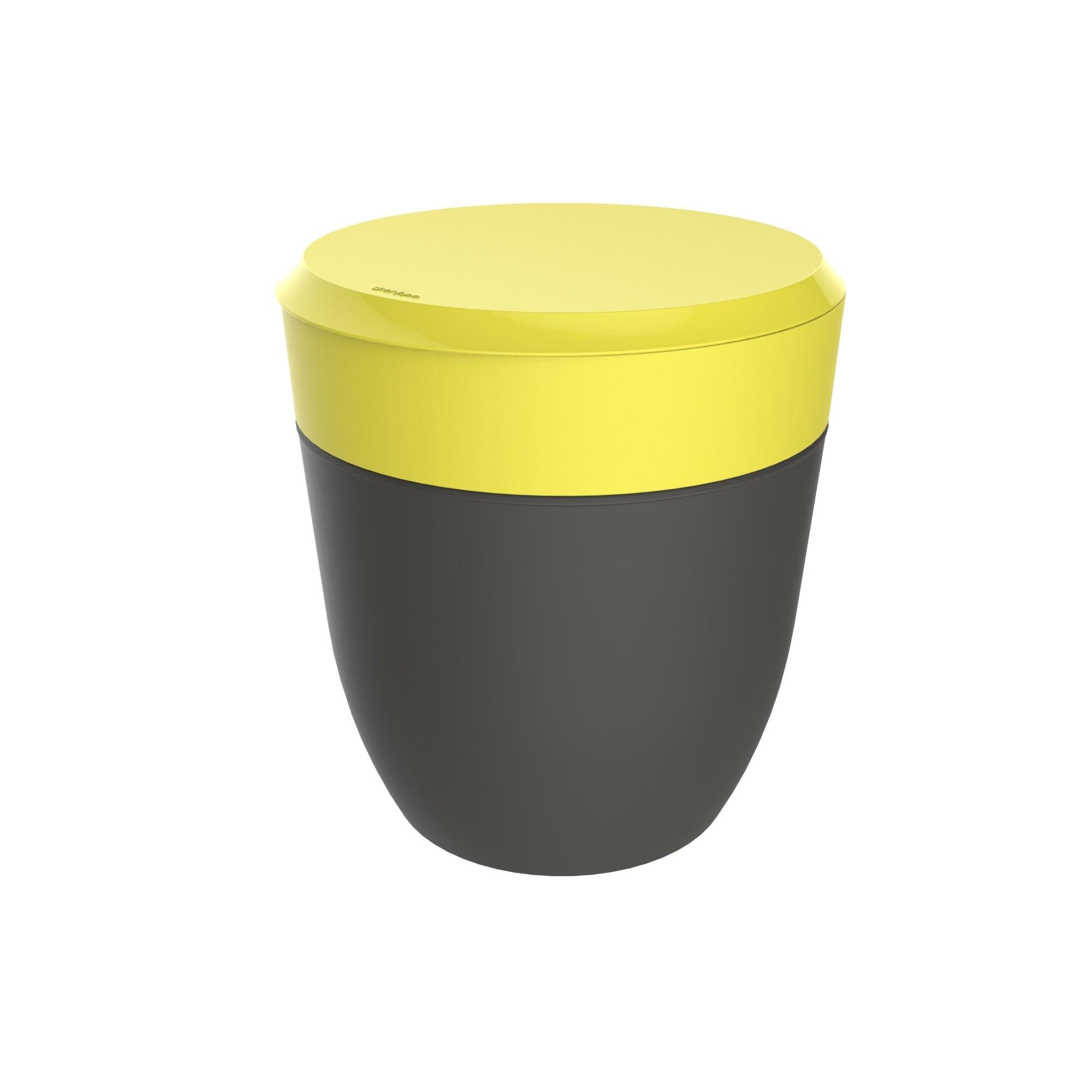 Lixeira com Tampa Manual Redondo Plastico 25L Amarelo 40703056 - Crippa
