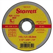 "Disco de Corte Aço Inox 115x1,0x22,2 mm 4. 1/2"" - Starrett"