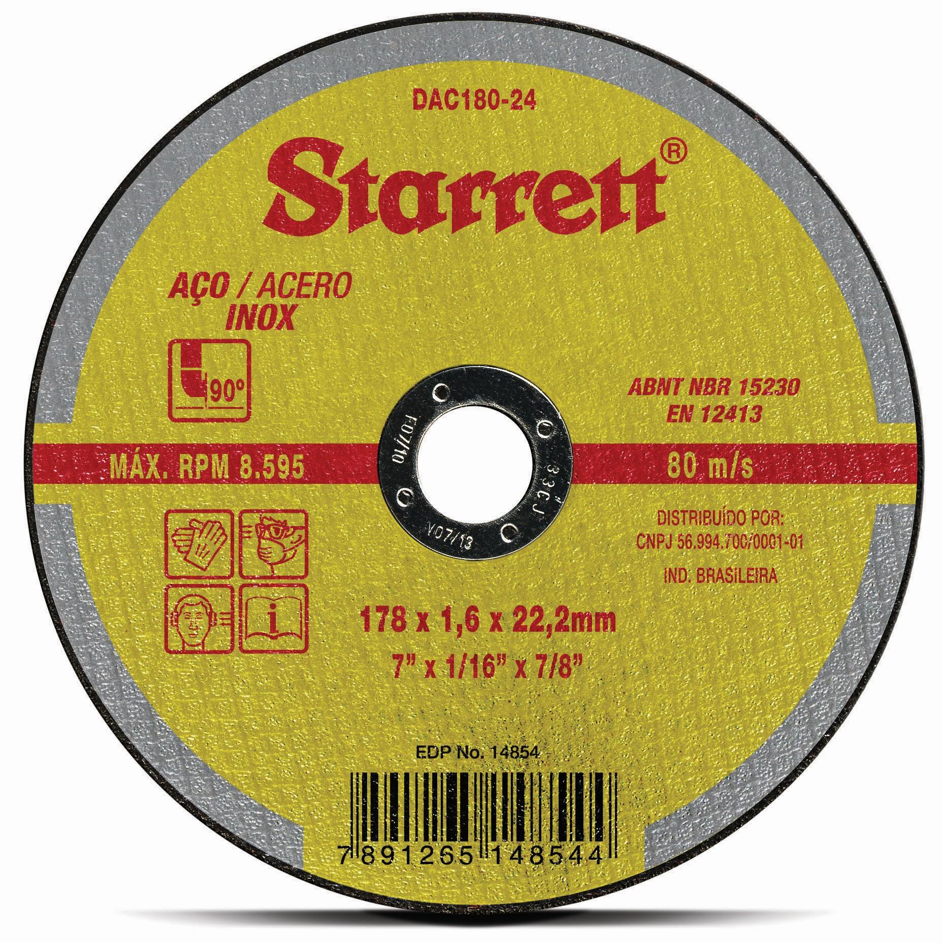 Disco de Corte Aco Inox 180x16x222 mm 7 - Starrett