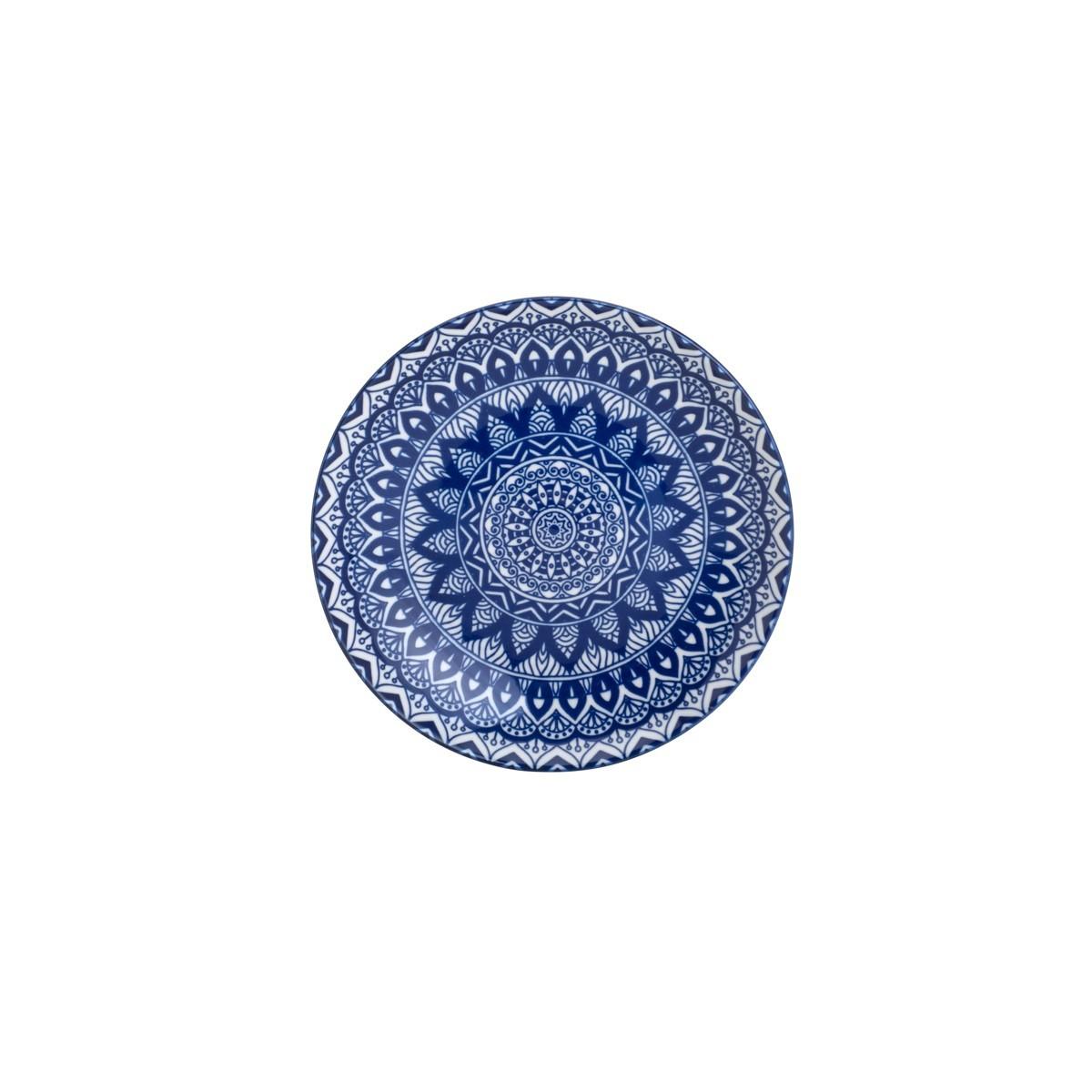 Prato de Sobremesa Redondo em Ceramica Azul 20cm - Lyor