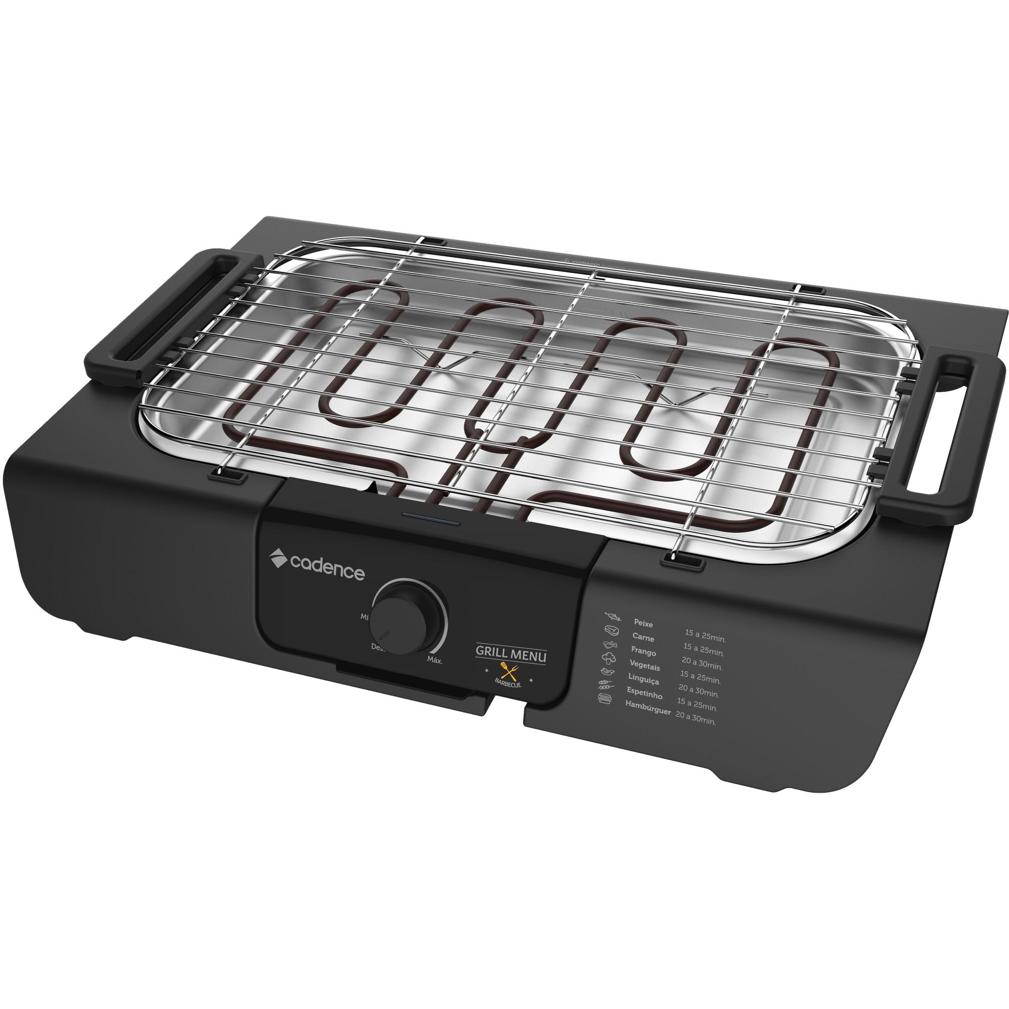 Churrasqueira Eletrica Cadence 220V 2000w com Controle de Temperatura - Preta