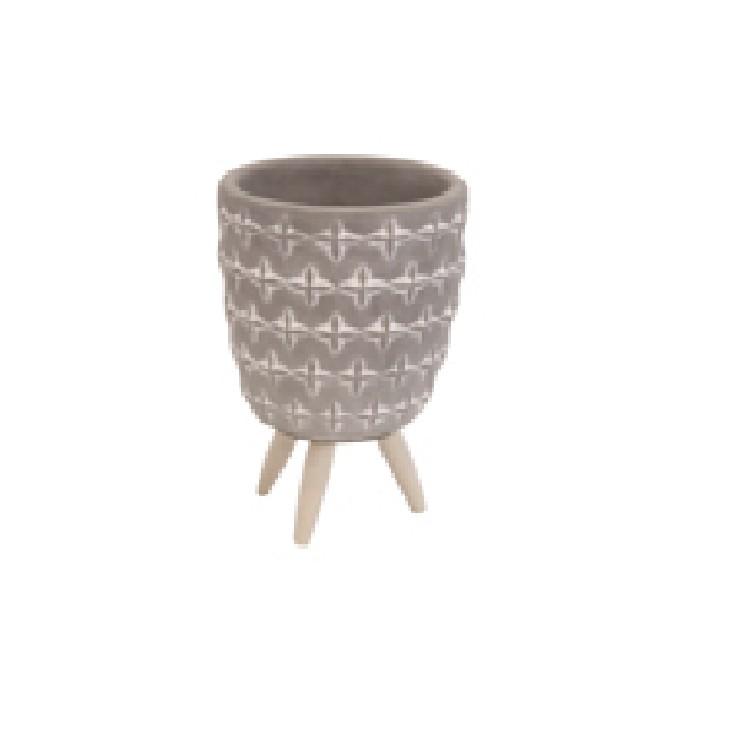 Cachepot Concreto 126x9 cm com Pe de Madeira Cinza 42517 - Urban