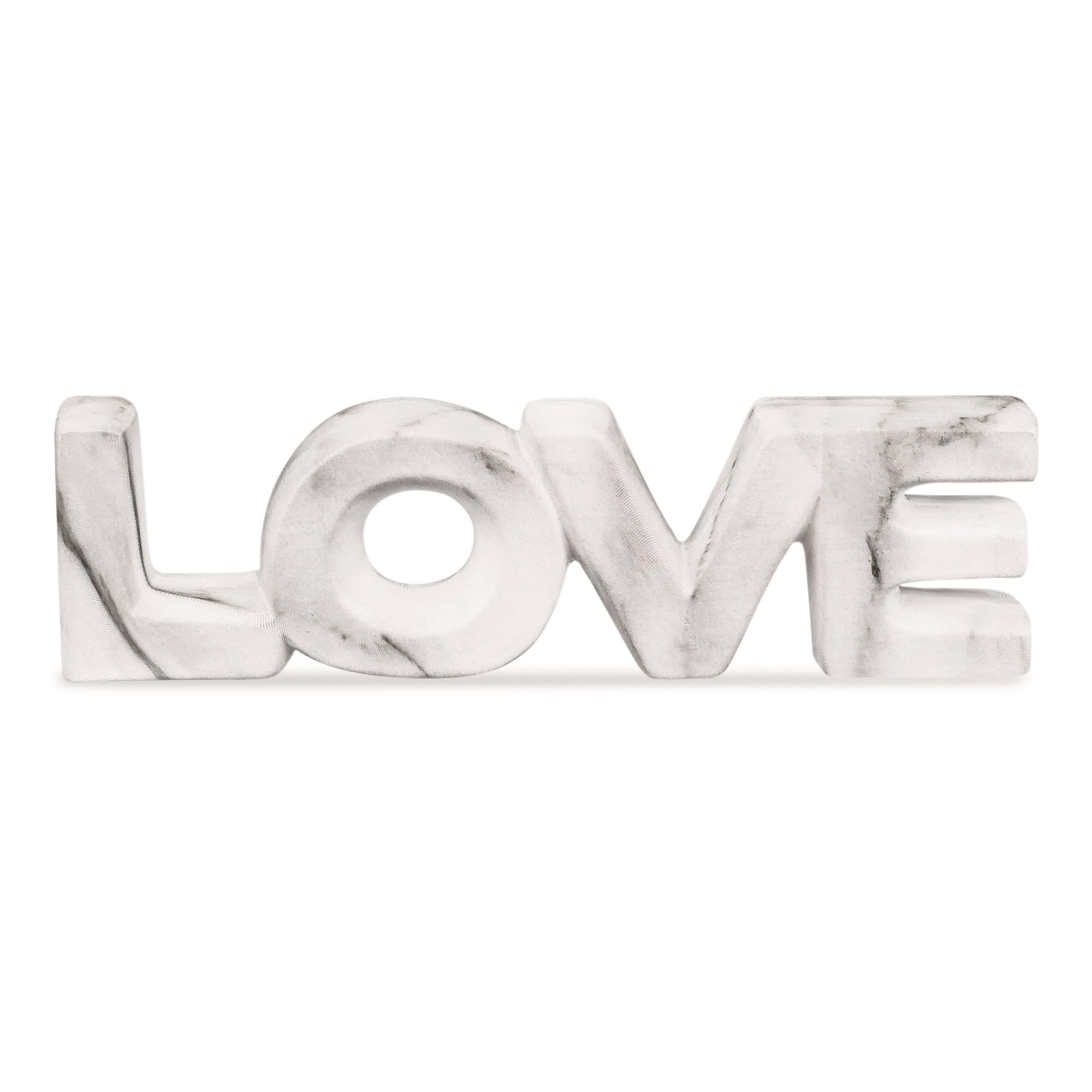 Palavra Decorativa 55cm de Ceramica Love Cinza 8732 - Mart