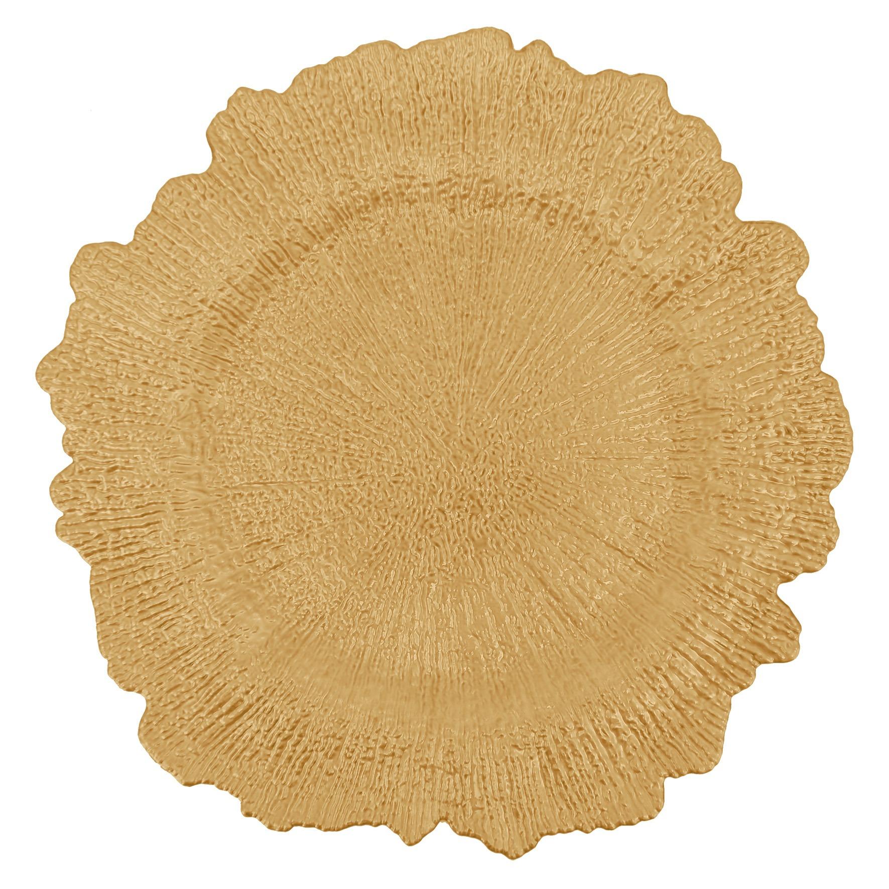 Sousplat Redondo Plastico 35cm Dourado - Yangzi