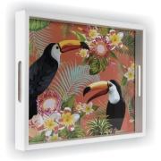Bandeja Luxo Retangular de Madeira 25x35cm com Alça - 353/8 - Art Frame