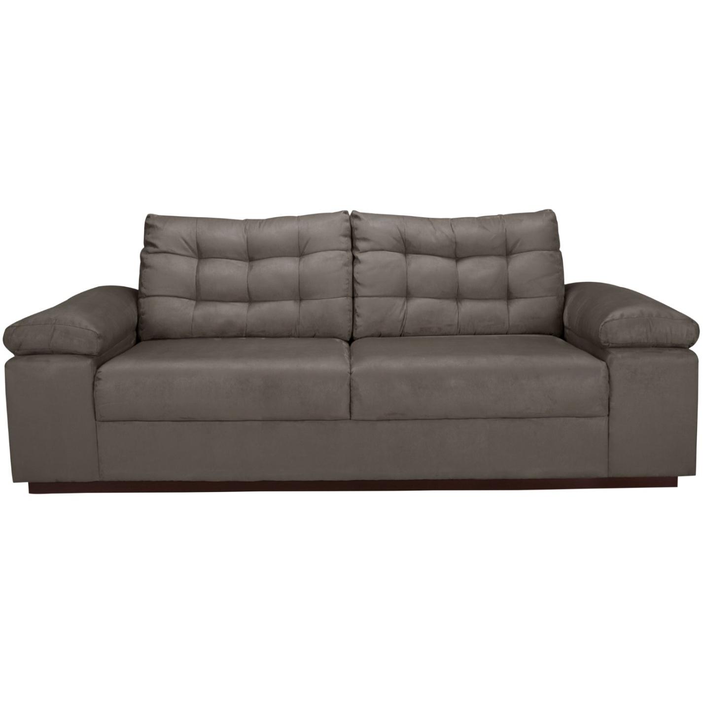 Sofa 3 Lugares Linho Herval Cinza 233 cm MH 4081