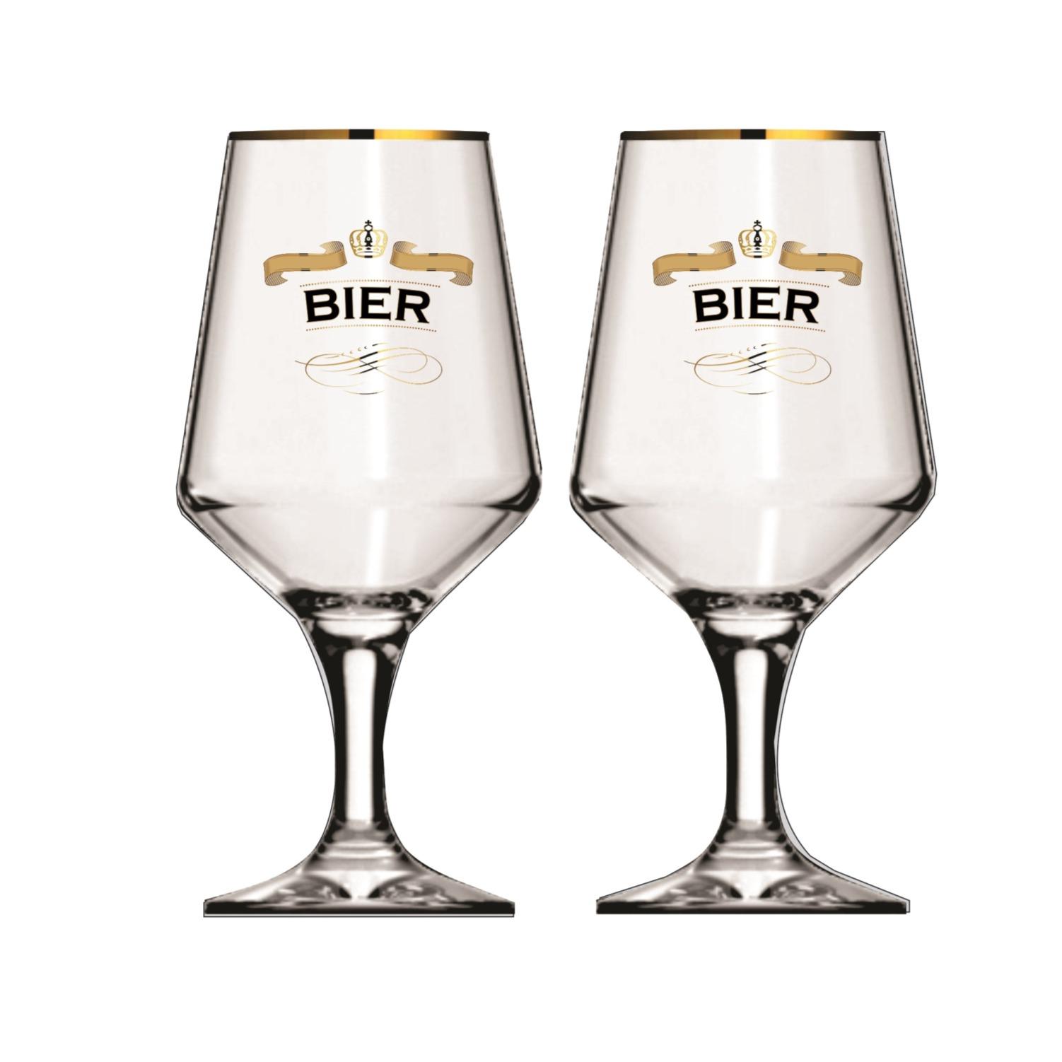 Jogo de Tacas para Cerveja de Vidro 2 Pecas 400ml - H Martin