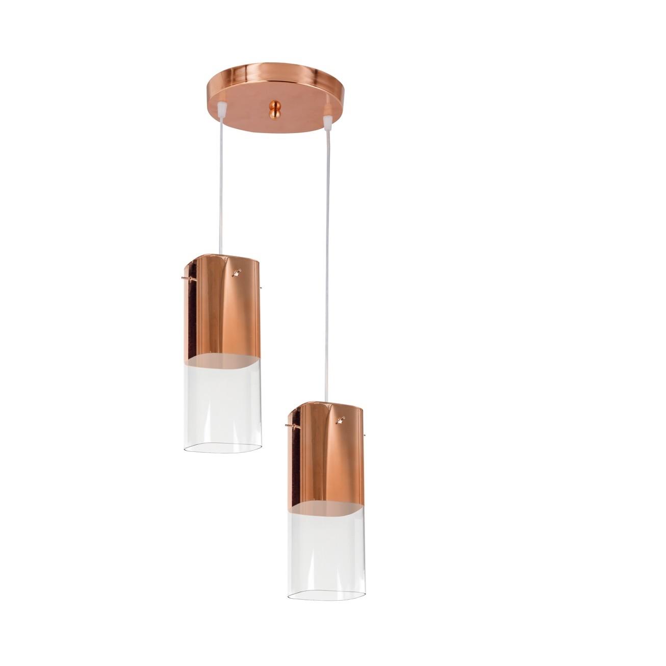 Pendente Aco e Vidro 2 Lampadas Cobre - Bronzearte