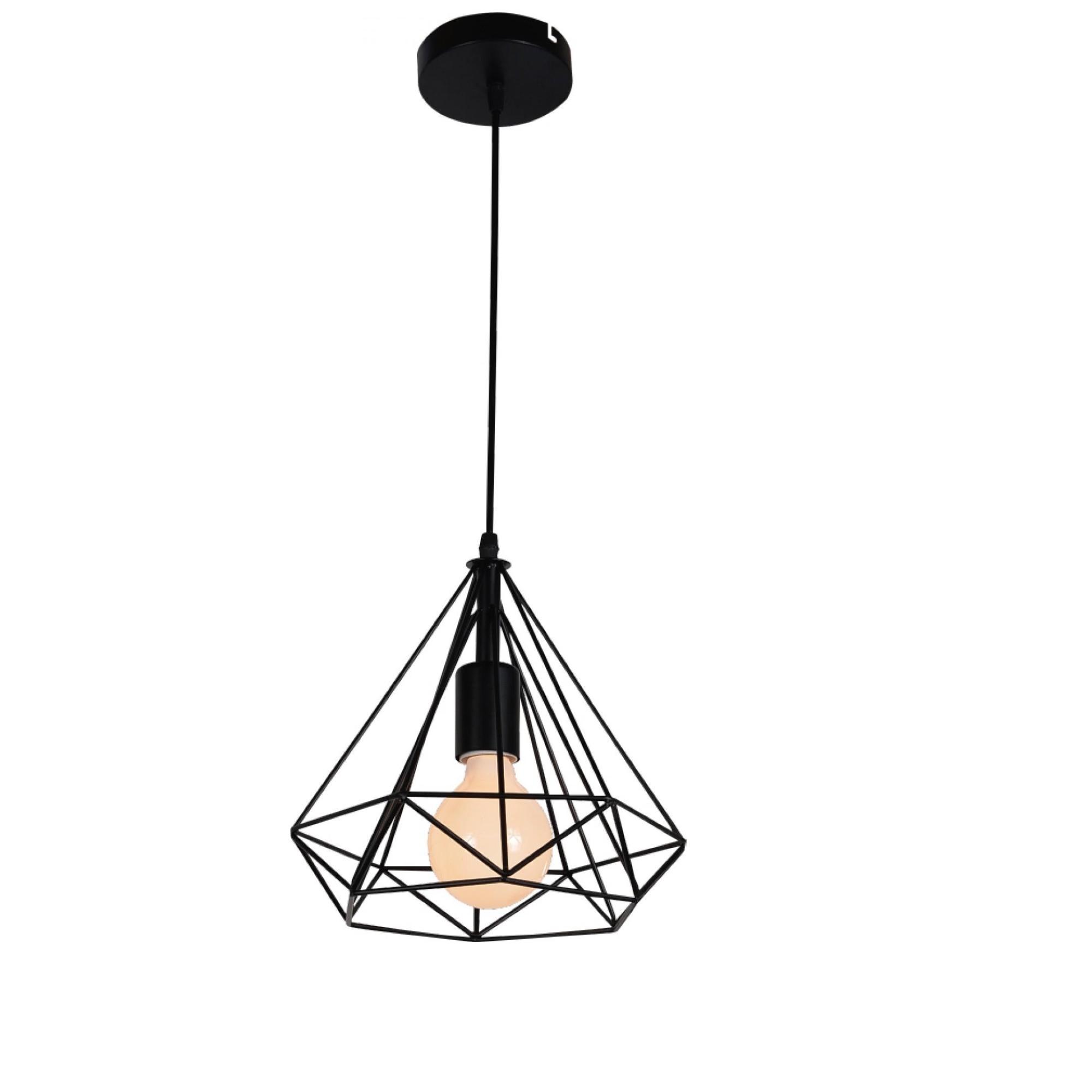 Pendente Tetra 30x25cm 1 Lampada Preto - Llum