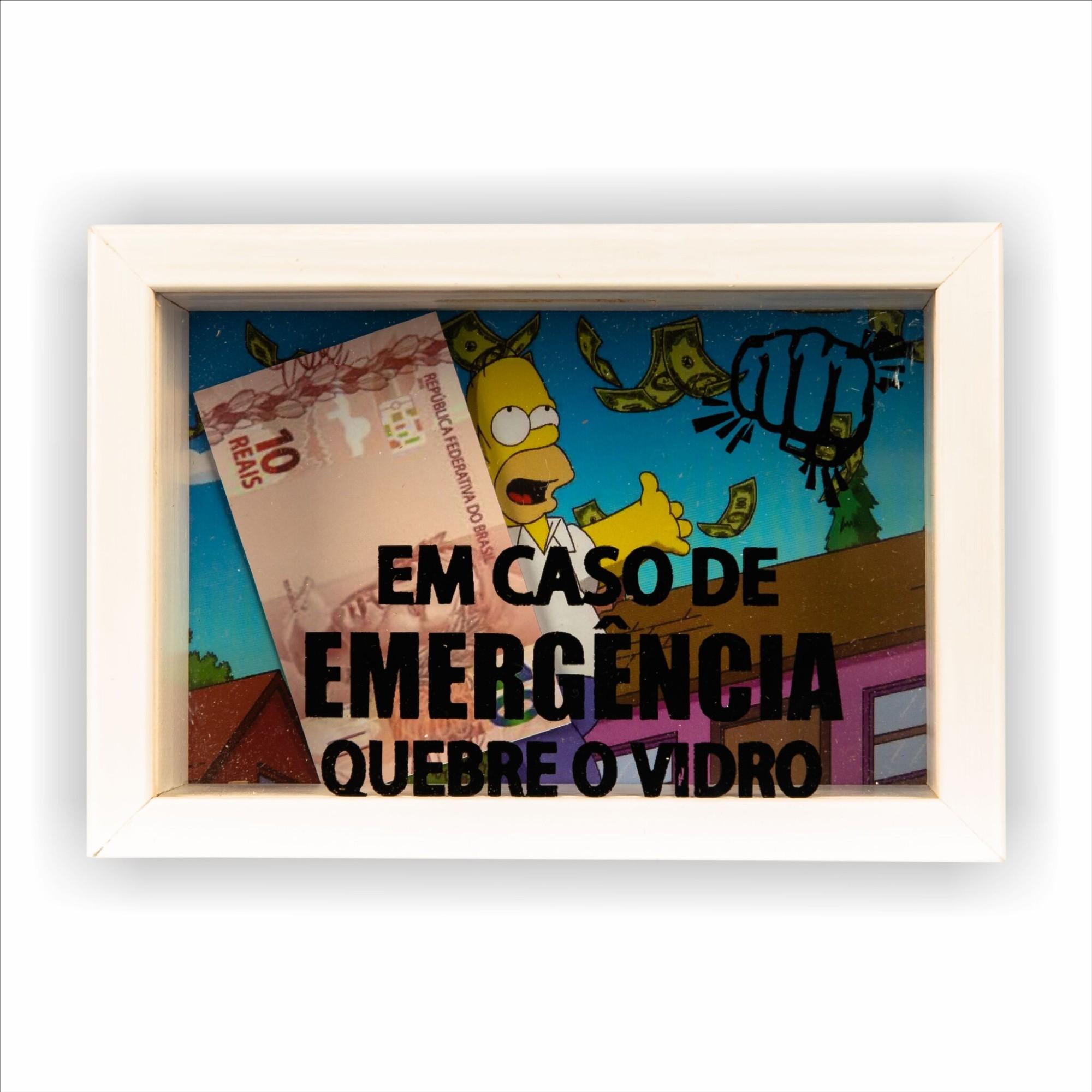 Quadro Porta-dinheiro 10x15 cm Em Caso de Emergencia Quebre o Vidro 8244 - Art Frame