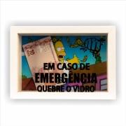 Quadro Porta-dinheiro 10x15 cm Em Caso de Emergência Quebre o Vidro 824/4 - Art Frame