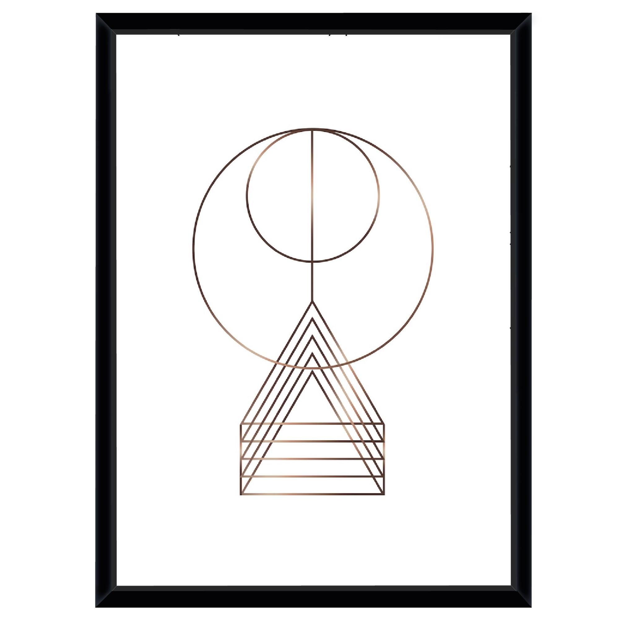 Quadro Decorativo 73x53 cm Geometrico Preto 541076 - Euroquadros