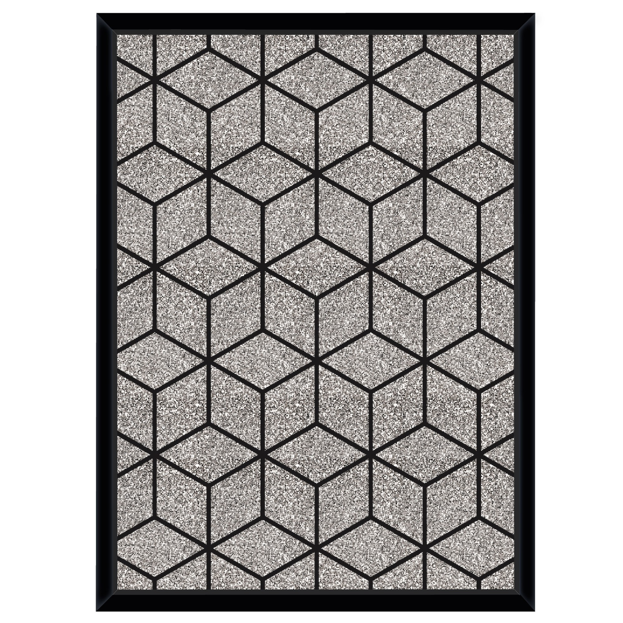 Quadro Decorativo 53x73 cm Geometrico Preto 541120 - Euroquadros