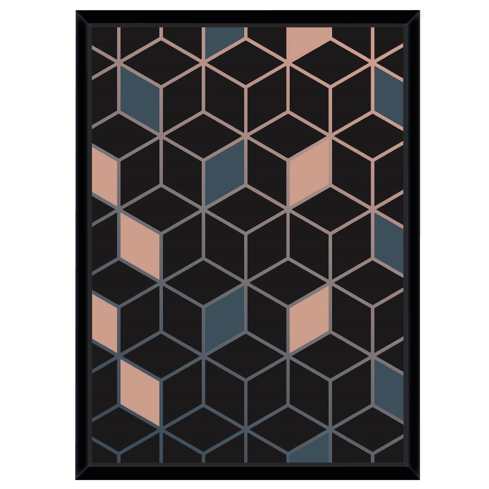 Quadro Decorativo 73x53 cm Geometrico Preto 541137 - Euroquadros