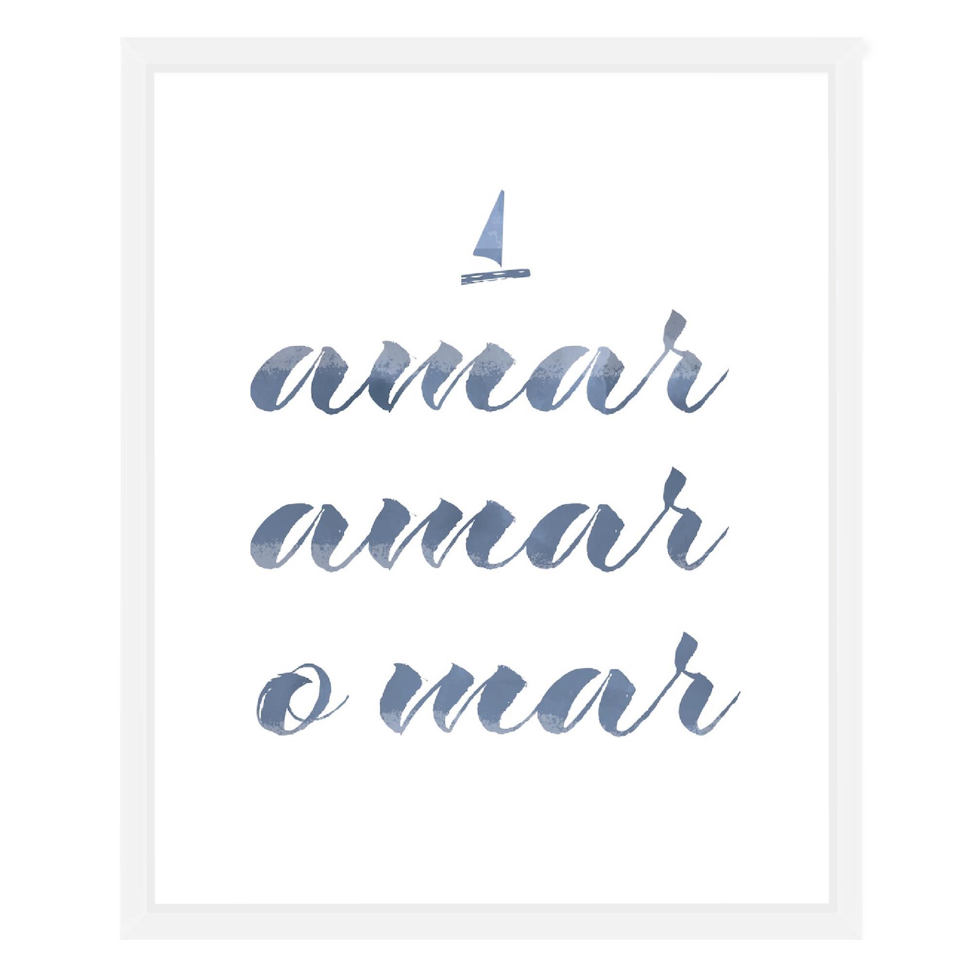 Quadro Decorativo 53x43 cm Amar Amar o Mar Branco 540758 - Euroquadros