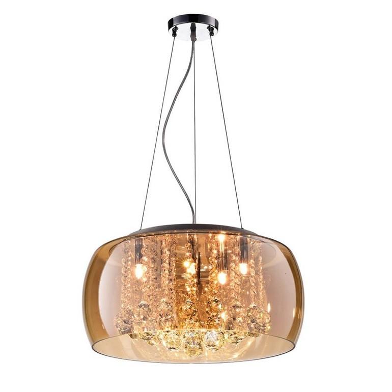 Lustre de Vidro e Cristal para 5 Lampadas 40x32 cm Bronze - Nitrolux