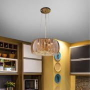 Lustre de Vidro e Cristal para 5 Lâmpadas 40x32 cm Bronze - Nitrolux