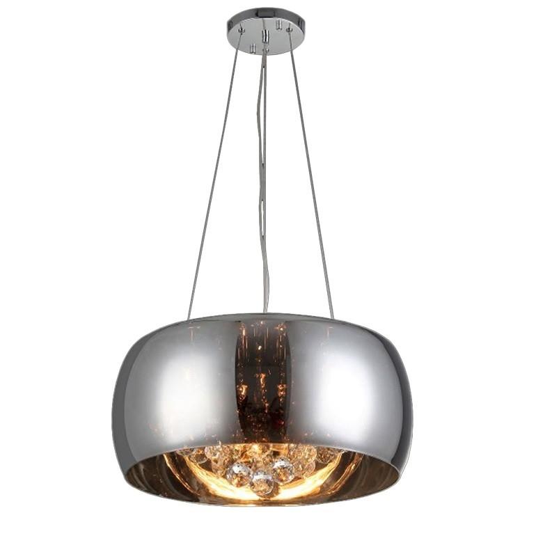 Lustre de Vidro e Cristal para 5 Lampadas 40x32 cm Cromado - Nitrolux