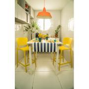 Banqueta Tramontina Safira Residência Alta em Polipropileno com Encosto 64,5 cm Amarela