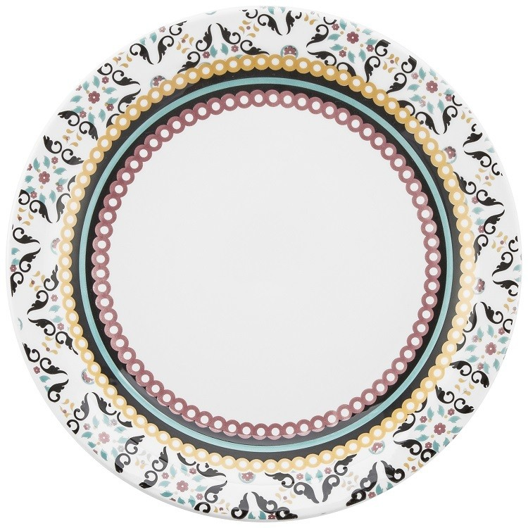Prato Raso Redondo em Ceramica Luiza Preto 26cm - Oxford