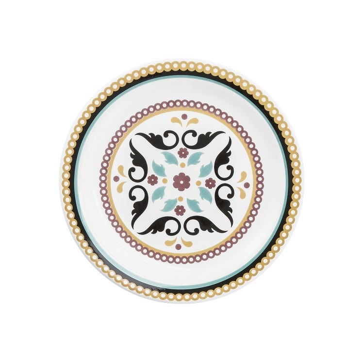 Prato de Sobremesa Redondo em Ceramica Luiza Preto 20cm - OxfordCaixa de 12 un