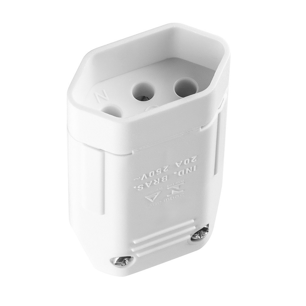 Plug Femea 2PT 20A Branco - Iriel