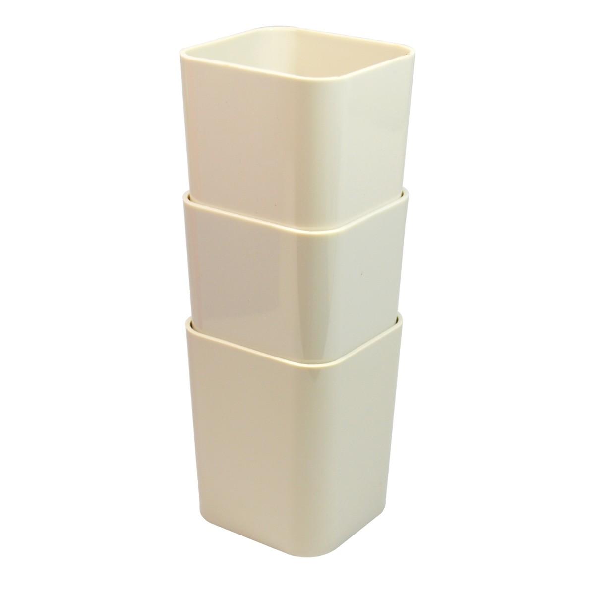 Cesta Organizadora de Plastico 3 Pecas 76x8 cm Retangular Empilhavel Cinza - Dello