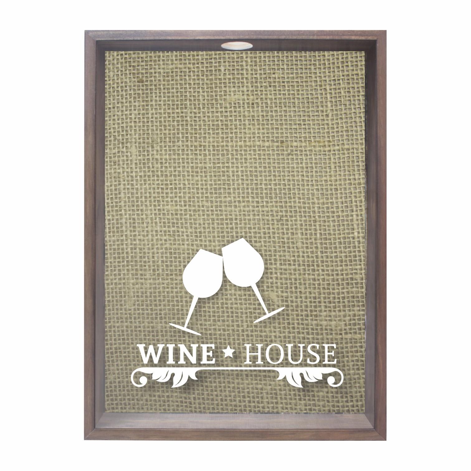 Quadro Porta Rolha 53x38 cm Wine House Preto 69023 - Kapos