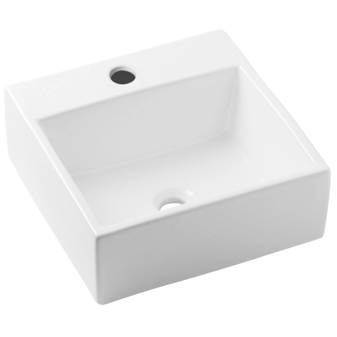 Cuba de Louca de Apoio com Mesa Quadrado 35x35 cm Branco Basic Matte - Celite