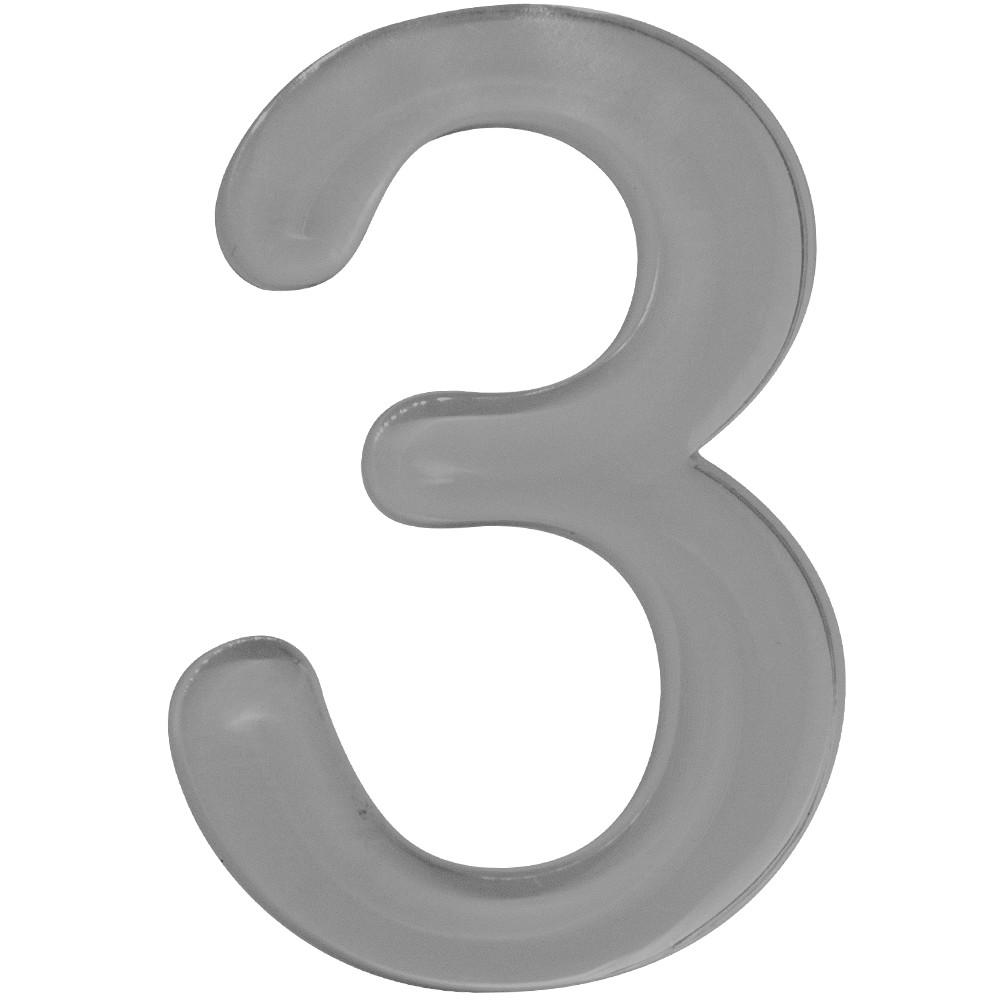 Numero 3 Acrilico Cinza - Acrilico Design