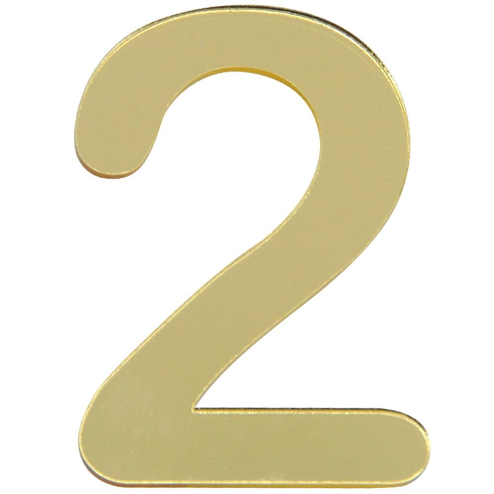 Numero 2 Acrilico Dourado - Acrilico Design