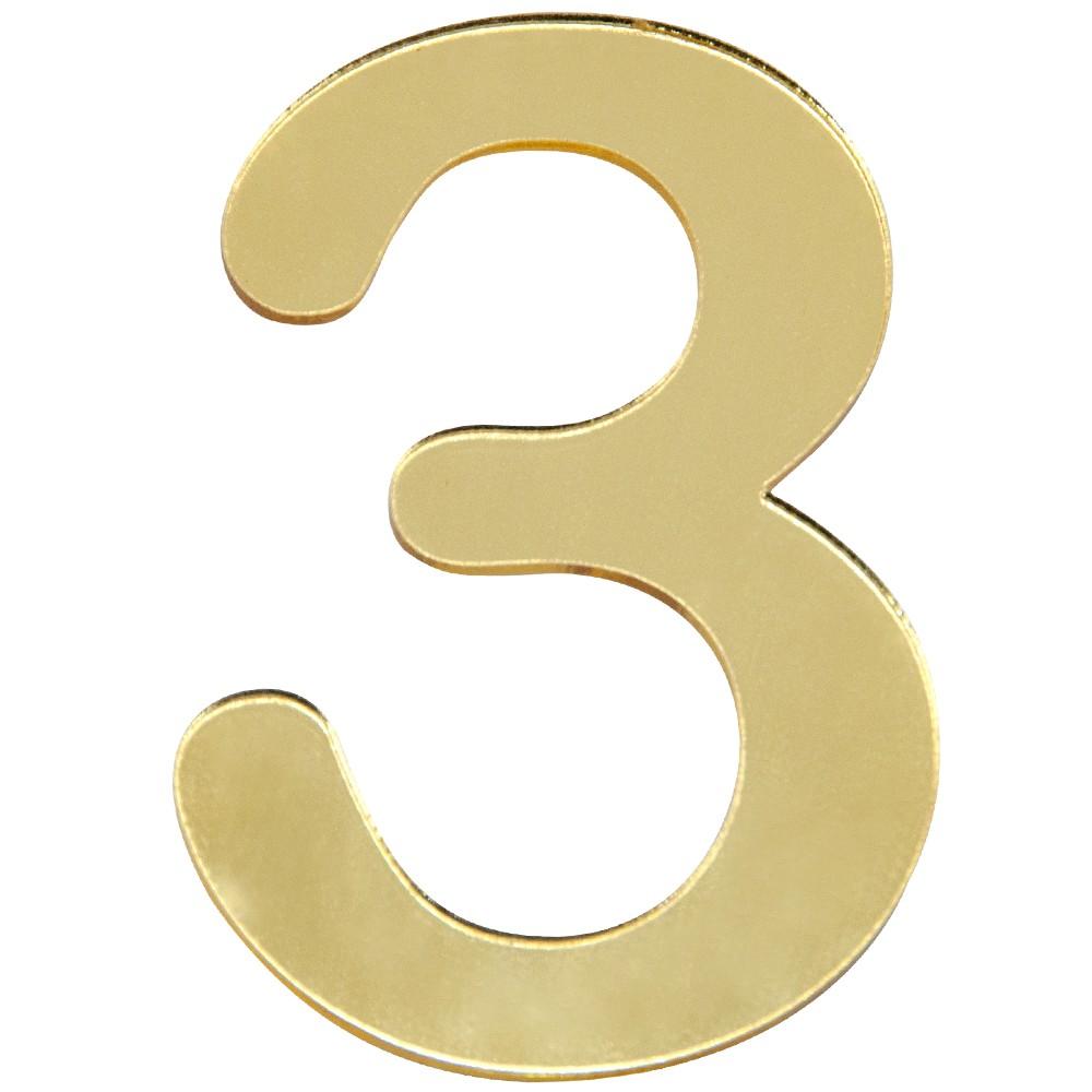 Numero 3 Acrilico Dourado - Acrilico Design