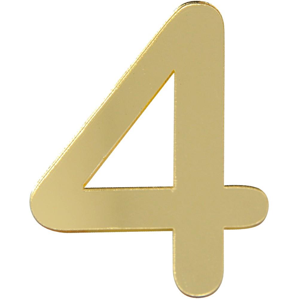 Numero 4 Acrilico Dourado - Acrilico Design