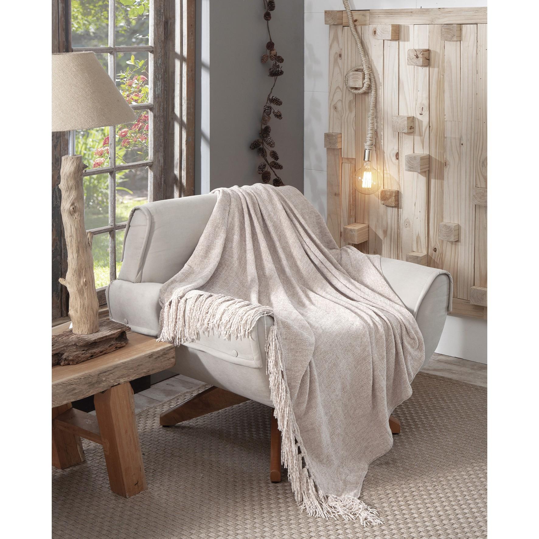 Manta para Sofa 130x150 cm Bege B9136 - Jolitex