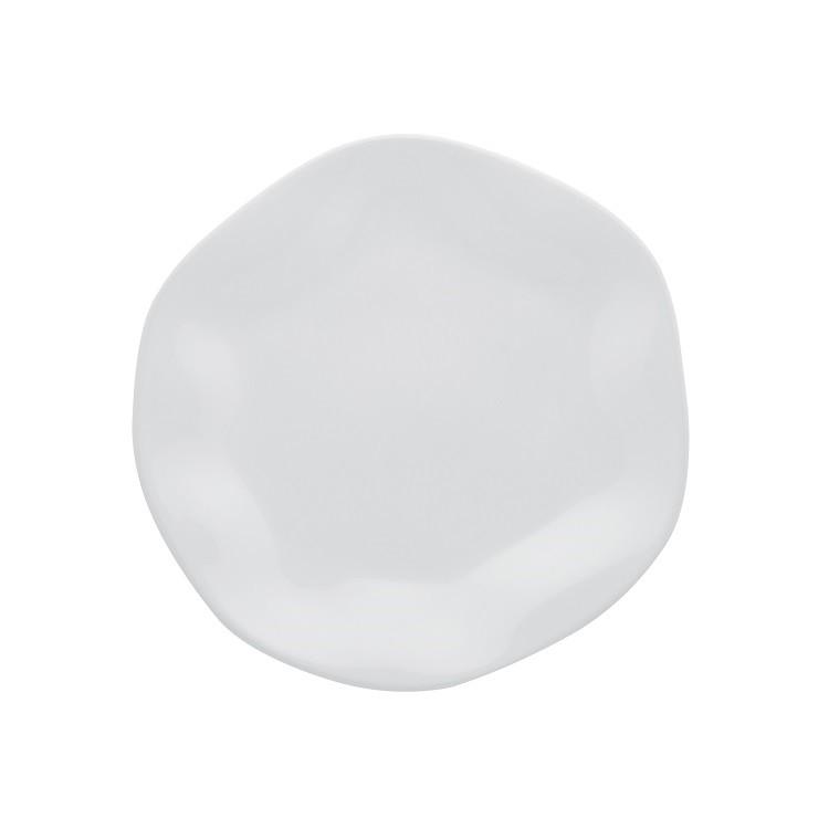 Prato de Sobremesa Redondo em Porcelana Ryo Branco 21cm - Oxford