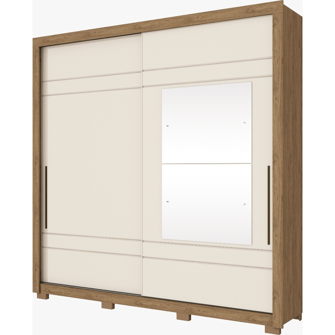 Guarda-roupa Casal com Espelho 2 Portas Rustico e Off White Delicato -