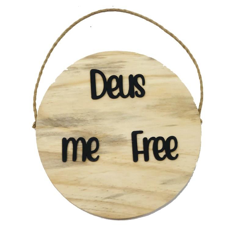Placa Decorativa 20x20 cm Deus Me Free Bege - Az Design