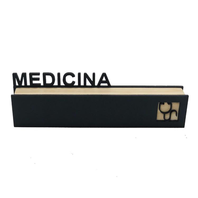 Placa Decorativa em MDF 20x6 cm Medicina Preta - Az Design