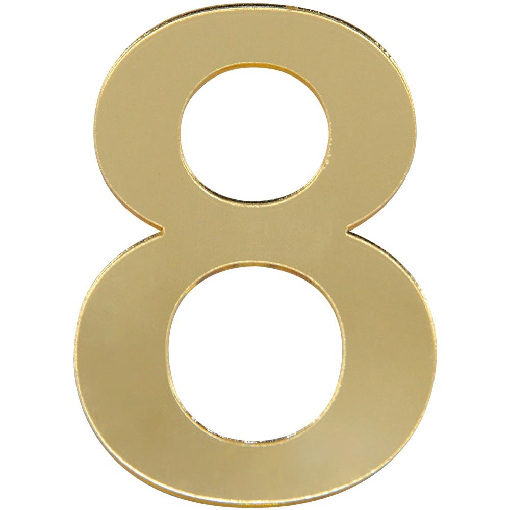 Numero 8 Acrilico Dourado - Acrilico Design