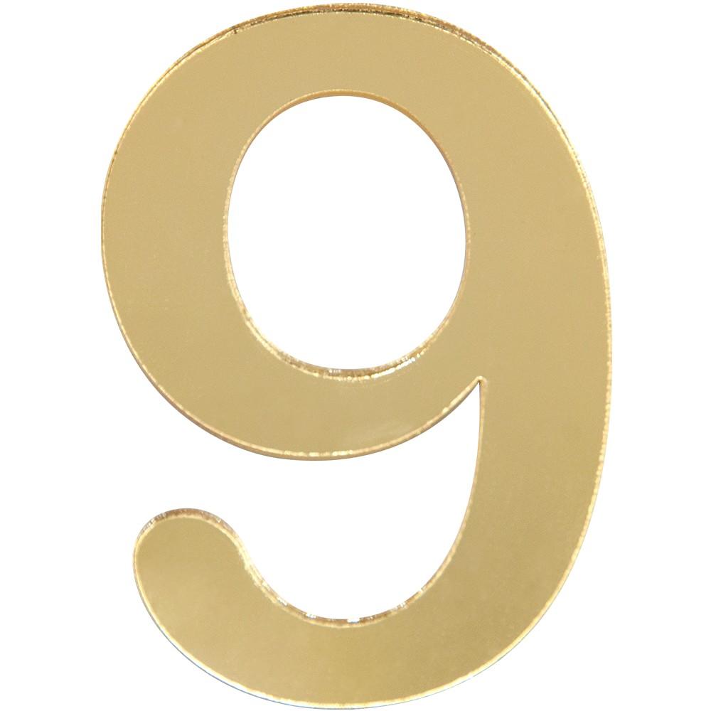 Numero 9 Acrilico Dourado - Acrilico Design