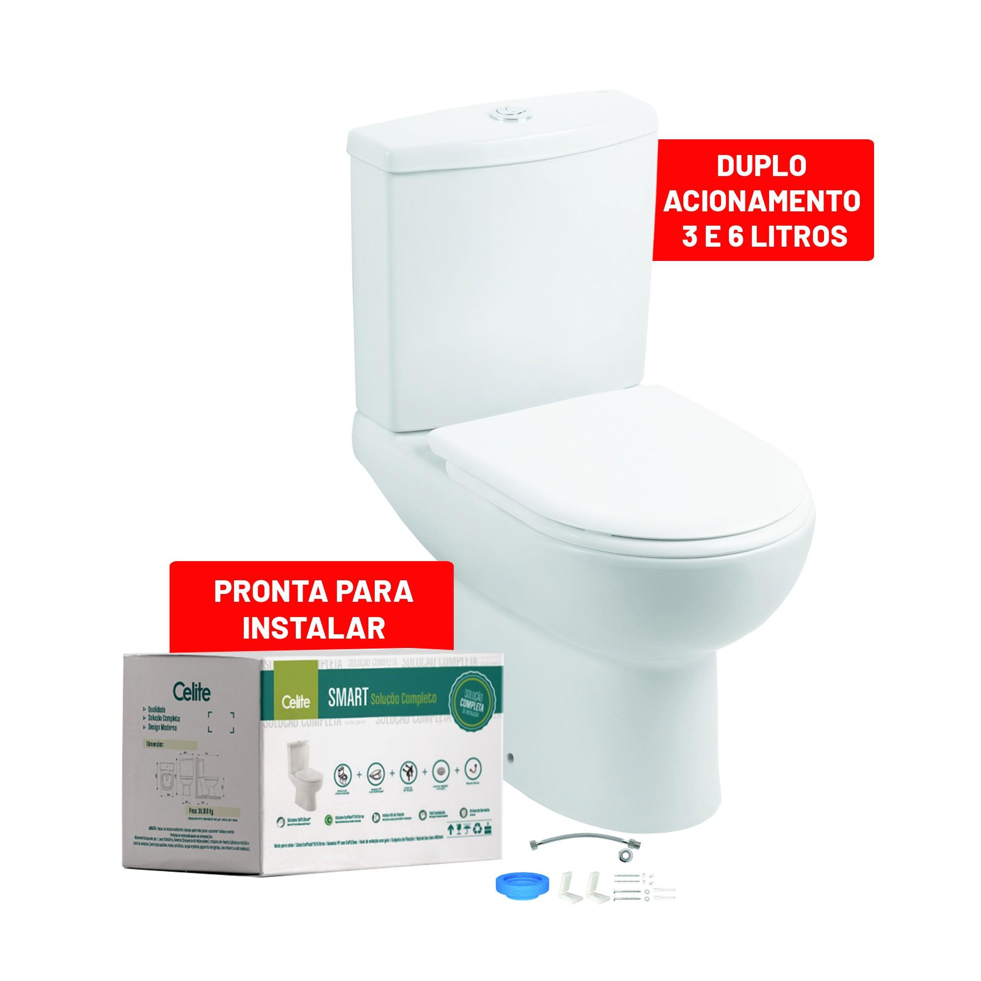 Kit Bacia Sanitaria e Caixa Acoplada 36 Litros Smart com Acessorios Branco Matte - Celite