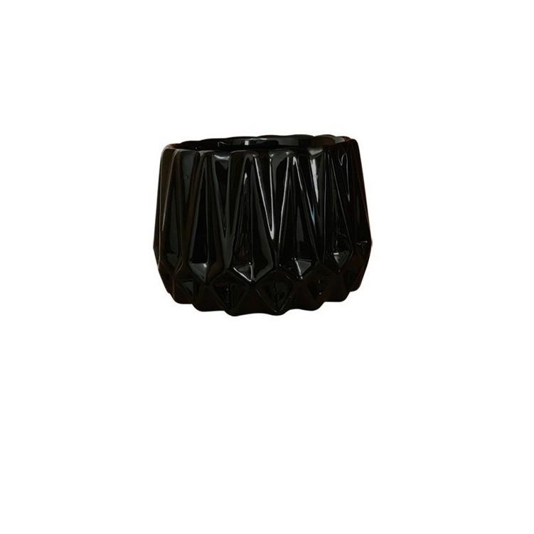 Cachepot Ceramica Frisado Preto 3263 - Ceramica Regina