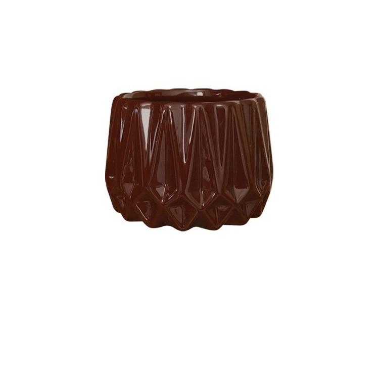 Cachepot Ceramica 8 cm Frisado Marrom 3264 - Ceramica Regina