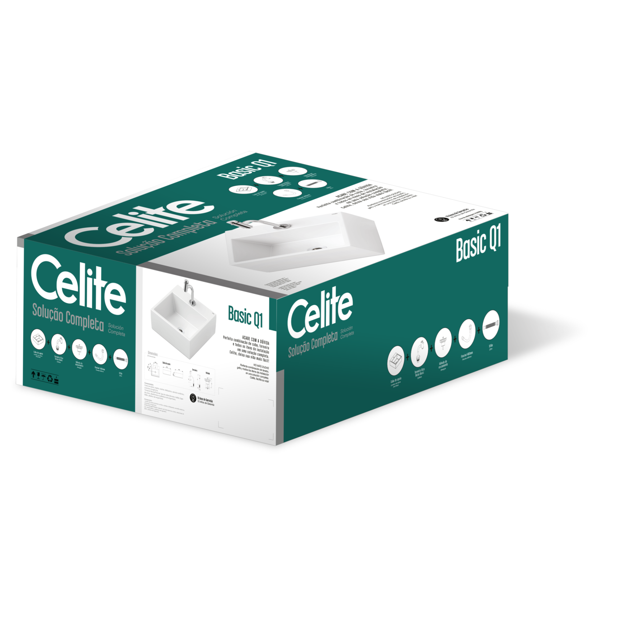 Kit Cuba e Toneira 41x41 cm Basic Q1 Branca - Celite