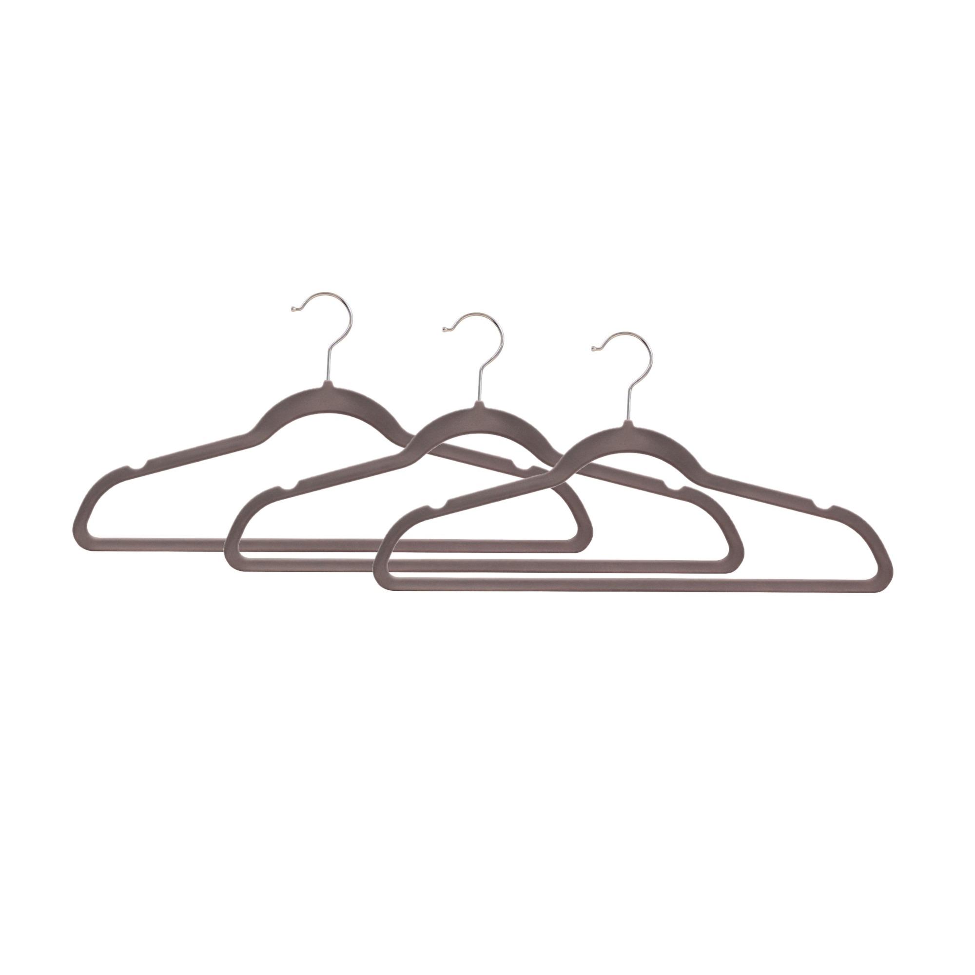 Kit de Cabides para Roupas Veludo 3 Unidades 45cm Cinza - Bianchini