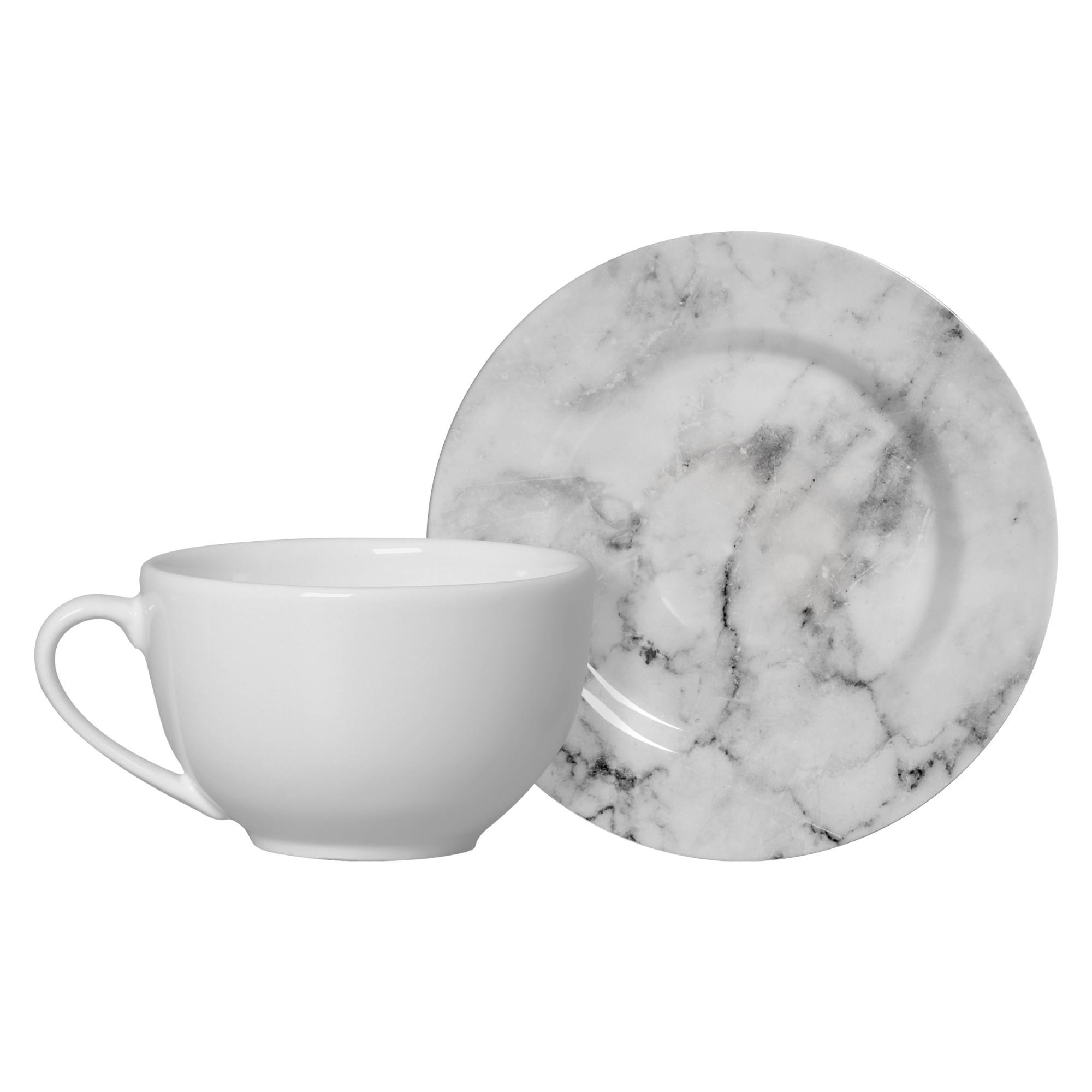 Xicara de Cha de Ceramica 300ml com Pires Marmore Branco - Alleanza